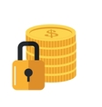 safety lock and coins icon vector image