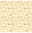 Seamless pattern with tools for embroidery vector image