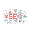 seo search engine otimization thin line concept vector image vector image