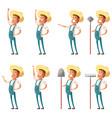 set farmer icons vector image