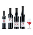 set of bottles of wine red wine flat design vector image
