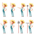 set of farmer icons vector image