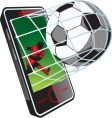soccer news on phone vector image vector image