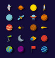 solar system icons set flat vector image