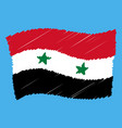 syrian national flag grunge pencil drawing vector image