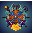 video role game cartoon emblem with magic invenory vector image