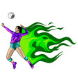 volleyball sport girl and ball cartoon vector image