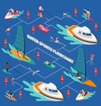 water sports isometric people flowchart vector image vector image