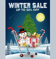 winter sale christmas decorative in shopping cart vector image