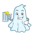 with juice cute ghost character cartoon vector image vector image