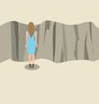 young woman standing and looking at the edge of a vector image vector image