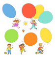 hand-drawn set of children playing with balloons vector image