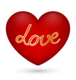 red heart with text love in vector image