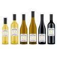 set of bottles of wine flat design vector image