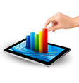 Tablet with colorful graph and women hand vector image