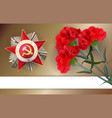 9 may retro carnation red flower victory day vector image vector image