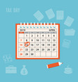 april page 2019 spiral calendar with marked tax vector image vector image