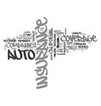 auto insurance comparison by state text word vector image vector image