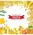 background with different pasta types vector image vector image