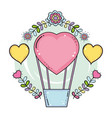 balloon air hot with heart shape and floral vector image vector image