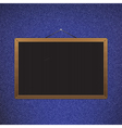 black chalkboard with brown corners over jeans vector image