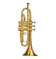 Brass Trumpet Isolated on a White vector image vector image