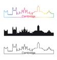 Cambridge skyline linear style with rainbow vector image vector image