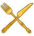 cartoon crossed cutlery vintage golden fork vector image vector image