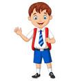 cartoon school boy in uniform waving hand vector image vector image