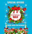 christmas sale poster for winter holidays offer vector image vector image
