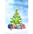 christmas tree decorated with colorful balls and vector image vector image