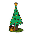 christmas tree with giftboxes vector image vector image