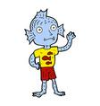 comic cartoon waving fish boy vector image vector image