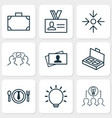 corporate icons set with big idea project target vector image vector image