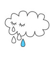 crying cloud with tears vector image
