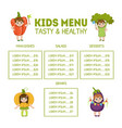 cute colorful kids meal menu with cute children vector image vector image