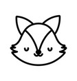 cute fox face toy cartoon character icon line vector image