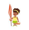 cute little girl standing with beach umbrella and vector image vector image