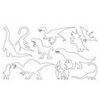 dinosaur silhouettes coloring set vector image