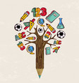 education pencil tree concept for school learning vector image
