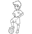 football boy standing line art vector image