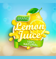 fresh lemon juice splash logo on bokeh background vector image vector image