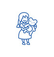 girl with teddy bear line icon concept girl with vector image