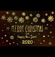 gold merry christmas and happy new year 2020 year vector image