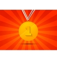 Golden medal for first place on red background vector image