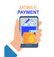 hand with mobile phone payment application vector image vector image