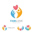 heart and people logo combination vector image vector image