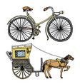 horse-drawn carriage or coach and bicycle bike vector image