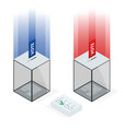 isometric transparent ballot box with voting paper vector image vector image