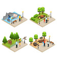 isometric zoo concept vector image vector image